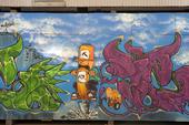 Graffiti på byggplank