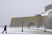 Snöoväder vid Varbergs fästning, Halland
