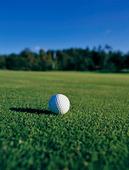 Golfboll på golfbana
