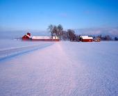 Lantgård i vinterlandskap