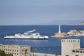 Messinas hamn på Sicilien, Italien
