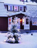 Julgran utanför hus
