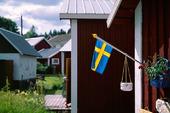 Fasadflagga på fritidshus