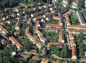 Flygbild över bostadsområde