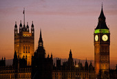 Big Ben, Victoria Tower, Houses of Parliament i London, Storbritannien