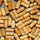 Korkar från utsökta viner