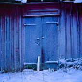 Frost på ladugårdsdörr