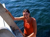 Kvinna badar