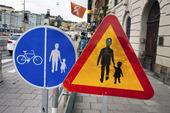 Trafikskyltar, gångtrafik, cykeltrafik