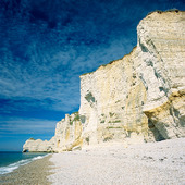 Kalkstensklippor vid Normandie, Frankrike