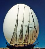Ägg och ett segelfartyg
