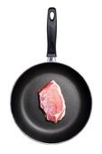 Stekpannan med köttbit