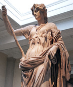 Statue of Thalia, muse of comedy in the British Museum in London, United Kingdom