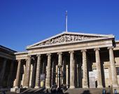 Exteriör av British Museum i London, Storbritannien