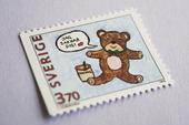 Frimärke med nallebjörn