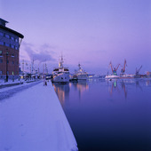 Göteborgs hamn på vintern