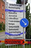 Informationsskylt vid sjukhus
