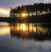 Soluppgång vid insjö, Värmland