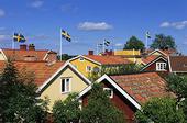 Svenska flaggor i villaområde