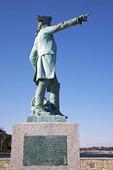 Staty av Jean-Baptiste Donatien de Vimeur i Newport Harbor, USA