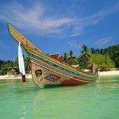 Båt vid strand,Thailand