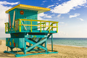 Lifeguard Building at South Beach, Maimi, United States