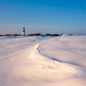 Fyr vid Morups Tånge vintertid, Halland