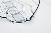 Glasögon på byggnadsritning
