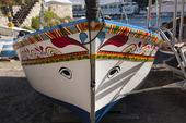 Fiskebåt i Taormina på Sicilien, Italien