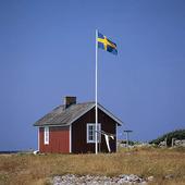 Röd stuga med Svensk flagga