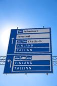 Vägskylt till Finland och Tallin, Stockholm