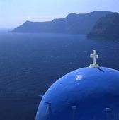 Kyrkkupol på Santorini, Grekland
