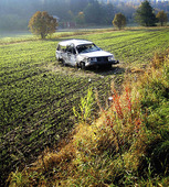Crash car in field
