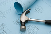 Picture of construction blueprint drawings