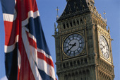 Union Jack och Big Ben i London, England