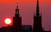 Stockholms stadsbild i solnedgången