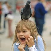 Flicka med duva på huvudet